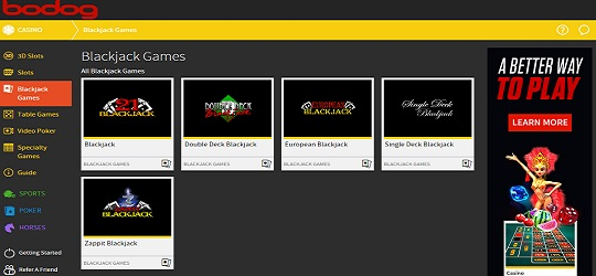 Blackjack selection at the updated Bodog Casino