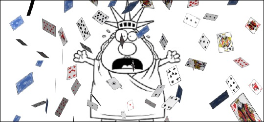 Blackjack in New York Statue of Liberty cards falling